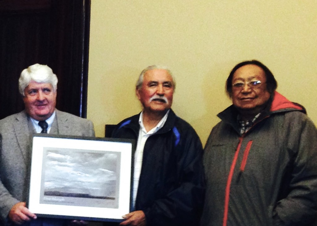 Congressman Rob Bishop, Chairman Willie Grayeyes and Board Trustee Jonah Yellowman
