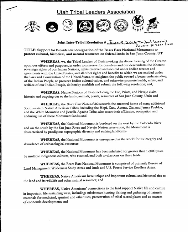 UTL Pass A Joint Resolution In Support Of Bears Ears
